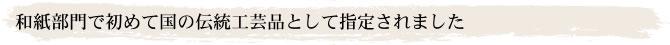 和紙部門で初めて国の伝統工芸品として指定されました
